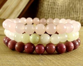 Womens Yoga Triple Bracelet Set of 3 Stackable Bracelets For Wife Gift For Girlfriend Womens Jewelry Gift For Mom Summer Jewelry Fertility