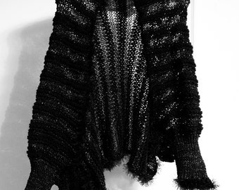 Hand-Made Knitted Woolen Shawl with Sleeves