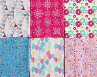 Celebrations Fat Quarter Bundle of 6 Fabrics -100% Cotton