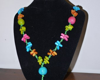 """Tagua beads necklace """"Carnival""""."""