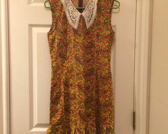 Vintage Handmade Paisley Cotton Dress