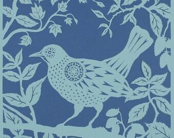 Bird papercut - Blackbird in Blackberries - print from an original handmade art work.