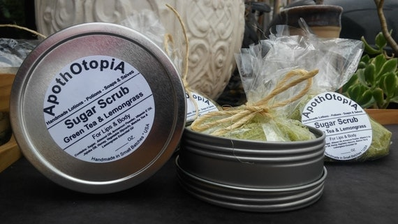 Enchanted Green Tea & Lemongrass - Organic, Exfoliating Body and Foot Scrub, Body Polish, Sustainable Living