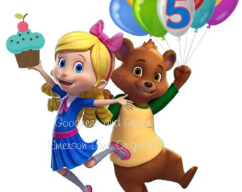 Goldie and Bear Personalized Digital Image - Birthday Party Decor and Printable