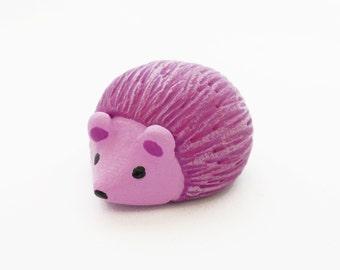 Pink hedgehog polymer clay miniature animal figurine