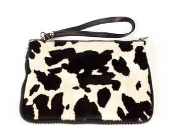 Animal Print Clutch - Black & White- Cow