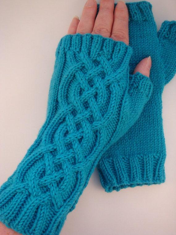 Fingerless Gloves Knitting Pattern Dk : Celtic Cable Fingerless Gloves knitting pattern