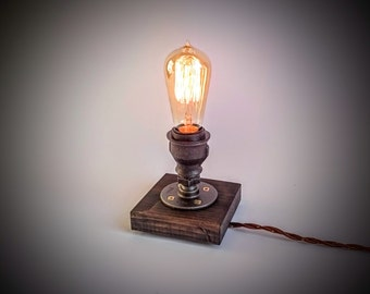 Edison lamp, Steampunk lamp, Table lamp, Industrial lighting, Plug in night light, Bedroom table lamp, Edison bulb table lamp, dark grey