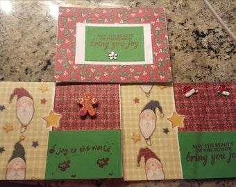 """Set of 3 festive Christmas cards. size: 4.25x5.5"""" each, With stickers!!"""