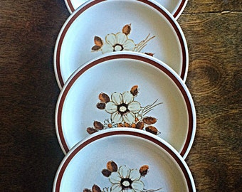 Woodhaven Collection, Pleasant Grove Pattern, vintage Japanese Stoneware Bread Plates, vintage stoneware dishes, retro floral print