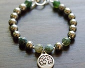 Tree Of Life Silver Hematite Grounding Bracelet with Moss Agate