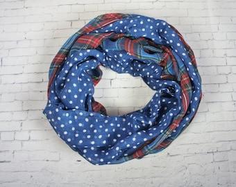 BLUE Plaid Polka Dot Print Infinity Scarf, Circle Loop Scarf, Spring scarf, womens Accessories