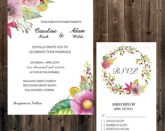 spring flowers wedding invitation 5x7