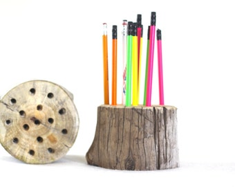 Pencil Holder, Wood Pencil Holder, Driftwood Pencil Holder, Log Pen Holder, Office Decor, Handmade, Unique Gift, Teacher Gift, Office