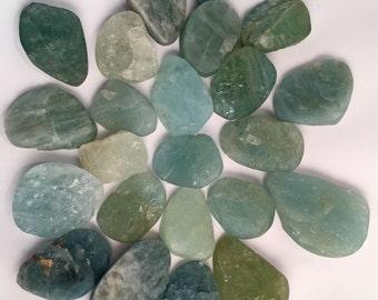 Aquamarine rough cabochon or bead freeform sizes priced per pair