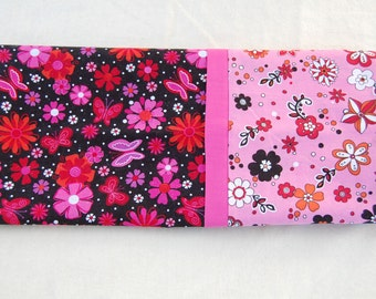 Pink/ Black Flower Pillowcase