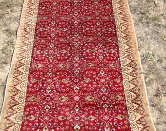 Vintage Rug,Oushak Rug.Turkish Carpet,Flower Design Rug.Red Color Rug,1001 Flower Design Rug,Area Rug,Boho Rug,3'3''x6'7''feet/100 x 200 cm
