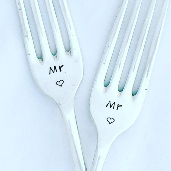 Gay wedding gift. Mr and Mr. I do, me too! Cake forks. Vintage ...