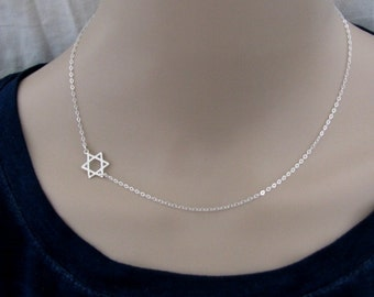 Star of David necklace, Jewish Star necklace, Jewish jewelry, sterling silver, magen David necklace, judaica jewelry, bat mitzvah gift