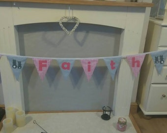 Bunting personalised. Price variable , depending on how many flags and letters required. Can also make small bunting for table plan etc.