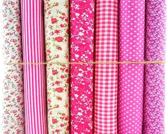 7 Pink Floral Polka Check Stripes Set 100% Cotton Fabric Fat Quarter Bundles Craft Bunting Patchwork Sewing