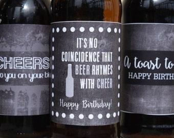 Birthday Beer Labels Chalkboard Printable