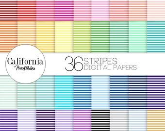 60% OFF SALE! Stripe Digital Paper Set - Set of 36 - Horizontal Stripes - Digital paper - Scrapbook - Instant Download - Print at home