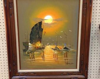 Beautiful mid-century Framed Artwork