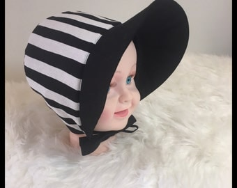 Black and white stripe baby toddler bonnet