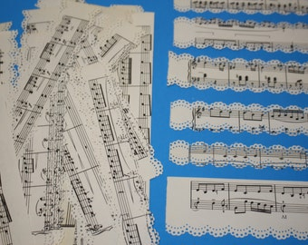 Paper Ephemera Pack - Music print paper lace - Set of 10 pieces of musical lace - each piece is 8 inches in length