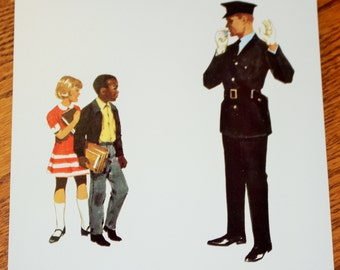 Vintage Double-Sided Large Flash Card - 1960's  - Traffic Cop - Policeman - School Crossing - Retro Decor