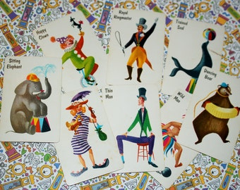 Vintage playing cards - Old Maid - Vintage Old Maid - Walt Whitman - Set of 8 cards