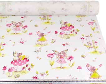 Fairytale Pink White 100% Cotton High Quality Fabric Material *2 Sizes*