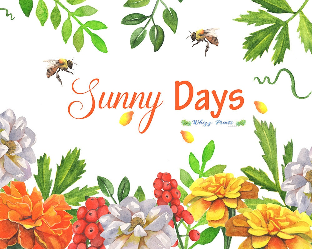 Sunny Days Watercolor clip art with marigolds and bee hand