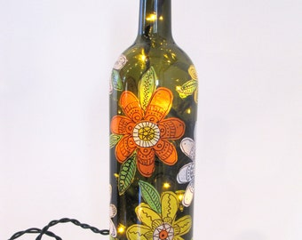 summer bloom Illuminated Wine Bottle
