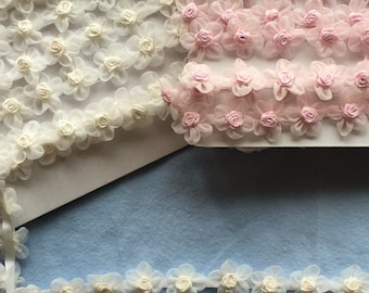 """Organza Daisy Trim w rosettes for craft or sewing project-1"""" wide-PInk or Ivory color choice"""