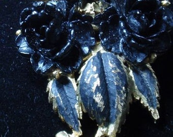 Black Morning Rose Brooch