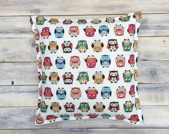 Funky Owl Pillow with Cotton Cover 40x40 cm