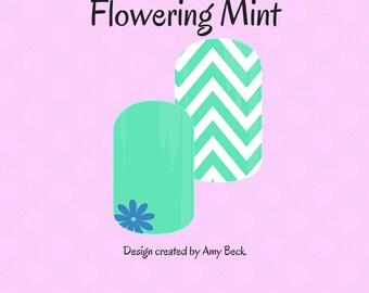 Flowering Mint Custom Nail Wrap