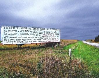 Roadside Proclamation in Rural Nebraska, 2010.  An Original Photo Art Card.