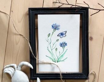 Original Watercolour - Blueberry & blue butterfly