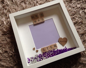 Personalised Mr and Mrs Photo Frame with jewels /Wedding Gift/Present/Keepsake