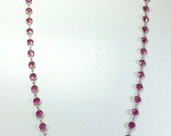 "Raindrops Necklace - Rose/Rhodium 36"" Swarovski crystal"