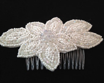 Bridal hair slide hair comb wedding ivory beaded slide flower