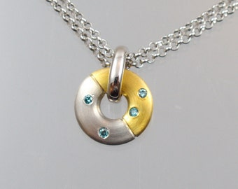 Gold Pendant with blue brilliant unique forged master work