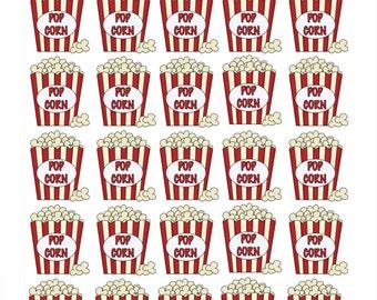 25 Popcorn Movie Night Sticker Sheet Reminder, daily planner
