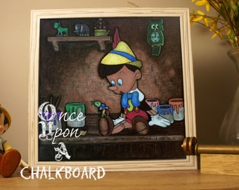 Pinocchio Disney Fan Art, Wall Art , Handmade, Chalk Art, Print