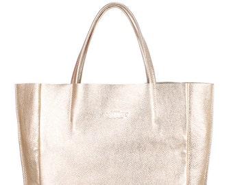 Bronze bag,Real leather hobo bag, Italian bag.