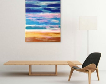 Blue Abstract Art Painting - Contemporary Art Home Decor Acrylic Painting Wall Hanging Modern Art Seascape Painting Ocean Art