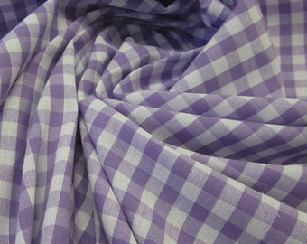 cotton fabric woven check lavender white 1cm France